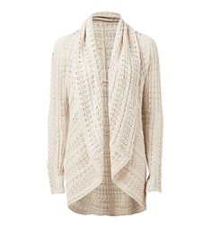 Rose Pointelle Circular Cardigan - in french beige | Forever New Draped cardigan crafted in a lightweight fabric. This cardigan features a draped, fall away neck line and a gorgeous circular pointelle stitch all over. Long in length for a comfy and oversized fit.