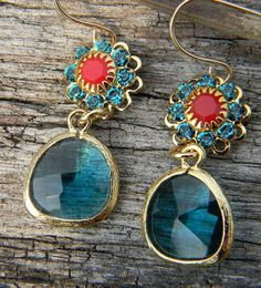 Sea Glass Green and Coral Earrings Framed in Gold by Greenperidot, $24.50