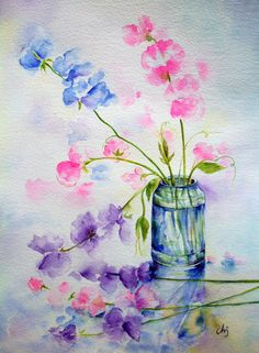 Original Watercolour Painting Sweet Peas In Blue Purple And Pink Garden Flowers Watercolor
