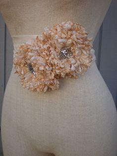 Bridal sash  bridal belt  wedding sash whit  peach and by denizy03