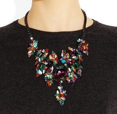 Brunette in a City - ERICKSON BEAMON Gunmetal and gold-plated Swarovski crystal necklace