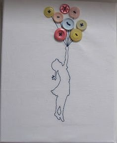 The house on the side of the hill banksy s balloon girl Diy Projects To Try, Sewing Projects, Girl Holding Balloons, Button Canvas, Diy Buttons, Button Crafts, Diy Arts And Crafts, String Art, Fabric Art