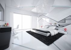 Amazing Futuristic Bedroom Design Ideas That Look More Luxurious – Home & Apartment Guide White Headboard, White Bedding, White Bedframe, White Bedroom Design, Bedroom Designs, Futuristic Bedroom, Double Bed Designs, Big Bedrooms, Luxury Bedrooms