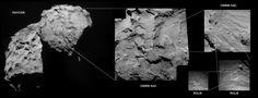 Update 08.34 uur] Bij Unmanned Spaceflight hebben de beeldexperts op basis van foto's gemaakt door de NAVCAM en OSIRIS aan boord van Rosetta en ROLIS aan boord van Philae deze compilatie gemaakt, waarop de landingsplek van Philae te zien zou zijn – dubbelklikken voor de verROLISeerde versie ervan: 13-11-14