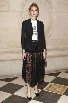 Chiara Ferragni au défilé Dior haute couture printemps-été 2017 lundi 23 janvier 2017