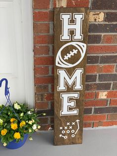 Football Porch Sign Porch Signs Porch Sign Welcome Sign Football Sign Wooden Porch Sign Sign is 3 feet tall. While this sign is intended for outdoor use, it should be placed on a landing, such as a concrete porch, deck, or patio paver. Football Signs, Football Crafts, Football Decor, Sports Signs, Bills Football, Cardinals Football, Baseball Signs, Football Wreath, American Football
