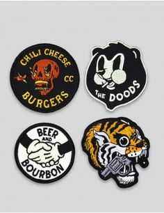 Mcbess patch set for The Dudes. Shop the latest graphic and illustration garments, jackets, jeans, art and lifestyle products at The Dudes Factory Berlin. Cool Patches, Pin And Patches, Badge Design, Logo Design, Old School Cartoons, Illustration Art, Illustrations, Vintage Patches, Patch Design