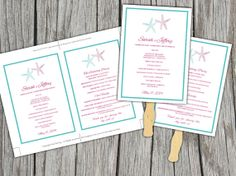 Starfish Beach Wedding Fan Microsoft Word Template - Lagoon Azalea Ceremony Program - Outdoor Wedding Program Favor by PaintTheDayDesigns, $7.75