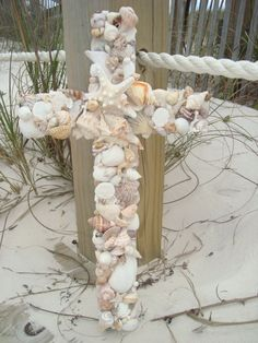 French blue gray Seashell Cross by MyHoneypickles on Etsy, $65.00
