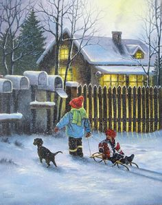 Rural Delivery Oil Painting, cabin in snow, paintings, two children in snow, mailbox, sled, black dog, Vickie Wade painting
