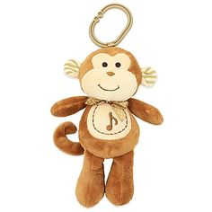 Not only can your little one cuddle with the Glo Pals Monkey Plush, they can also be comforted by the soft glow of the monkey's cheeks and the soothing tones of Brahms' Lullaby playing from the plush toy.