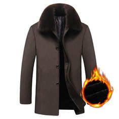 2290775b08c Men Winter Cashmere Overcoat Warm Double Breasted Hooded High ...