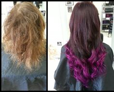 Hair extensions and colour change before and after