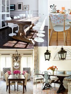 Farmhouse & wooden dining room table home decor inspiration board