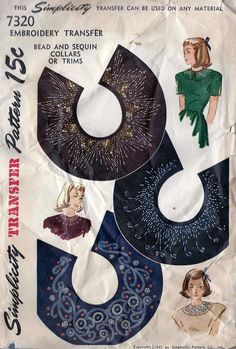 1940s Embroidery Transfer For Collar Sequin and Bead Pattern