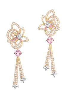 Louis Vuitton Haute Joallerie. Boucles d'oreilles L'Ame du Voyage en or rose, 247 diamants, 2 morganites, 69 saphirs jaunes et 32 saphirs roses