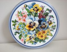 Cookie Tin with Violets ~ Pansies ~ Flowers ~ Purple ~ Blue ~ Yellow ~ Floral ~ Baskets of Flowers ~ Periwinkle