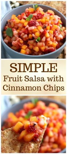 Light, refreshing, cold, fruity and sweet is what you will get with this fruit salsa.  Goes great with our homemade cinnamon chips or on top of grilled fish, tacos or steak!  #fruitsalsa #salsarecipe #cinnamonchips #simplepartyfood