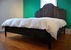 These are the details on how we built our master bed! Ana White at Knock-Off Wood wrote up plans for how to build a Queen-sized Fancy Ar. Furniture Plans, Bed Plans, Home, Bedroom Inspirations, Diy Bed, Bed, Furniture, Master Bedding, Built In Bed