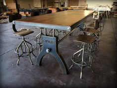 #industrial #diningtable This industrial dining table is inspired by old cast iron bases made from the late 1800s to the 1940s by a French machinist named P. Hure. He built many different lathes and milling machines that stood on them.