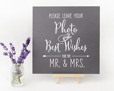 Wedding Photobooth Guestbook Sign, Photo Guestbook Sign, Polaroid Guestbook Sign,  Ink-drawn Rustic Kraft or Chalkboard Style