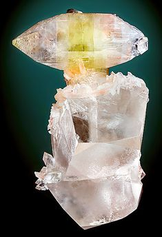 Apophyllite on transparent Calcite crystals