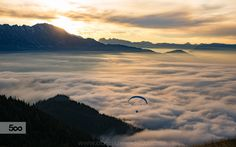 Sunset Paragliding above the Clouds. Magical Sunset Paragliding session above the Clouds near Salzburg, Austria. Image available for licensing. Above The Clouds, Paragliding, Explore, Mountains, Sunset, Instagram, Salzburg Austria, Photography, Travel