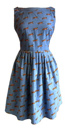 Retro Vintage Inspired 50s Style Blue Fox Print Dress