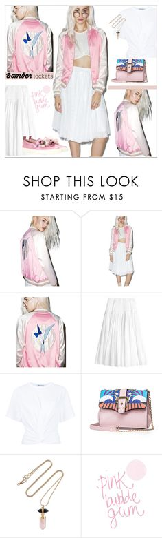 """""""Pink & white bomber"""" by rose-levitt ❤ liked on Polyvore featuring Rebecca Taylor, T By Alexander Wang, Isabel Marant, Gucci, summerstyle and bomberjackets"""