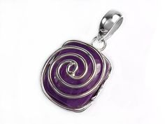 Solid 925 Sterling Silver pendant created in a contemporary swirl design with a cabochon amethyst gemstone. A stunning and unique piece exclusive to House of Audrey.