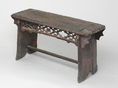 Bench. Artist/maker unknown, Flemish. Made in Southern Netherlands (modern Belgium). 15th century. Oak (49.1 x 96 cm).