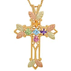 Genuine Black Hills Gold & 10K Gold Family Birthstone Cross Necklace - add up to 7 loved one's birthstones.