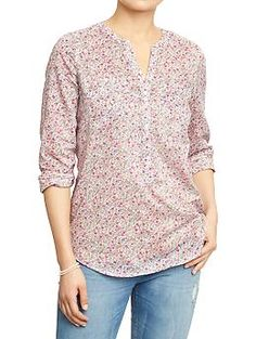 Womens Floral-Printed Blouses. Liked this one and the navy