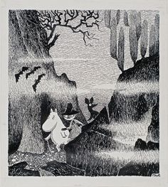 Tove Jansson. Original illustration for Kometjakten (Comet in Moominland). 1946