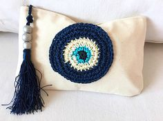 Crochet Eyes, College Student Gifts, Good Luck Gifts, Evil Eye Jewelry, Patchwork Bags, Handmade Bags, Teacher Gifts, Couture, Embroidery
