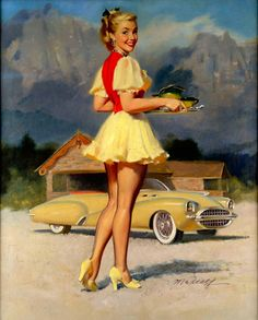 *Pinup...Mountain Side Carhop Artist: William Medcalf Date: 1940s - early 50s