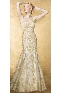 Bridal Gowns: Yumi Katsura Mermaid Wedding Dress with V-Neck Neckline and Natural Waist Waistline