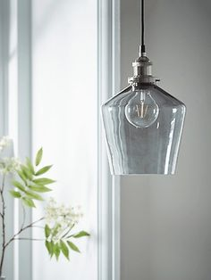 Simple, stylish and perfect for an elegant interior, our grey glass pendant light has a tapered shade and brushed nickel fitting detail, complete with a matching ceiling rose. The coloured glass will add a contemporary touch, while the classic Brass Pendant Light, Industrial Pendant Lights, Contemporary Pendant Lights, Pendant Lighting, Round Pendant, Modern Lighting, Lighting Ideas, Copper Glass, Grey Glass