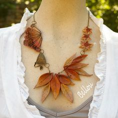 "Original collier "" nature"" fimo tons orangés : Collier par bellou"
