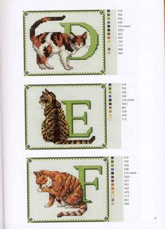 Links to Cat ABC alphabet and a few other cat patterns Counted Cross Stitch Patterns, Cross Stitch Charts, Cross Stitch Designs, Cross Stitch Embroidery, Cross Stitch Letters, Cross Stitch Animals, Embroidery Letters, Sewing Art, Tapestry Crochet