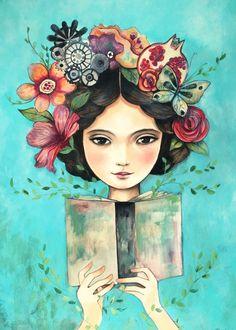 Se me enreda, al leer, la naturaleza en el cabello… resurge la vida en primavera, resurge la vida con la lectura (ilustración de Claudia Tremblay)