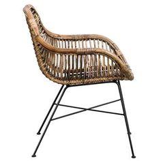 Chaise de salle à manger Mats - rotin - gris antique | Leen Bakker