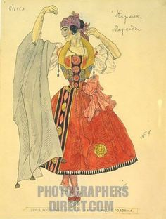 "Costume design for the opera "" Carmen "" by G . Bizet by Golovin , Alexander Yakovlevich ( 1863 1930 ) , Russia , 1925 . Regional M . Vrubel ..."
