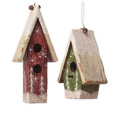 Home Decorators Collection 3.5 in. Red and Green Wooden Bird House Ornament (Set of 3)-5475110110 at The Home Depot