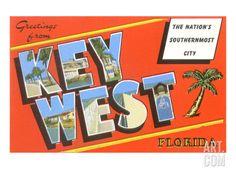 Greetings from Key West Art Print at Art.com - 24x18 29.99