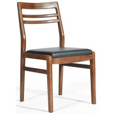 The Lewis side chair possesses an elegant air when viewed from any angle. The Lewis series embodies the mid century modern design aesthetic but is updated in scale and comfort. The lovely hand-fitted curves of the rich walnut wood are perfect counterpoints to the soft upholstered seat.