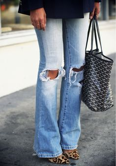 Distressed jeans and leopard pumps