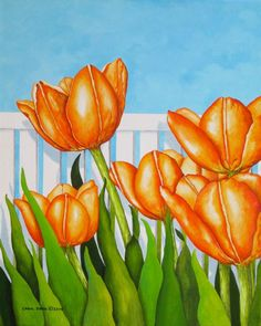 Orange Tulips In My Garden - Original acrylic painting on canvas-Floral #Realism - Matches the Pink Tulips In My Garden.