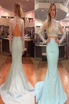 AHP207 Two Piece Lace Bodice Long Sleeve Baby Blue Taffeta Skirt Mermaid Formal Dresses 2017