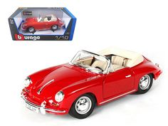 1961 Porsche 356B Cabriolet Red 1/18 Diecast Model Car by Bburago - Brand new 1:18 scale diecast 1961 Porsche 356B Cabriolet by Bburago. Has steerable wheels. Brand new box. Rubber tires. Has opening hood, doors and trunk. Made of diecast with some plastic parts. Detailed interior, exterior, engine compartment.Dimensions approximately L-10, W-4, H-3.5 inches. Please note that manufacturer may change packing box at anytime. Product will stay exactly the same.-Weight: 4. Height: 8. Width: 15…